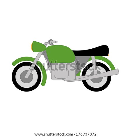 Vector Cartoon Simple Motorcycle On White Background - stock vector