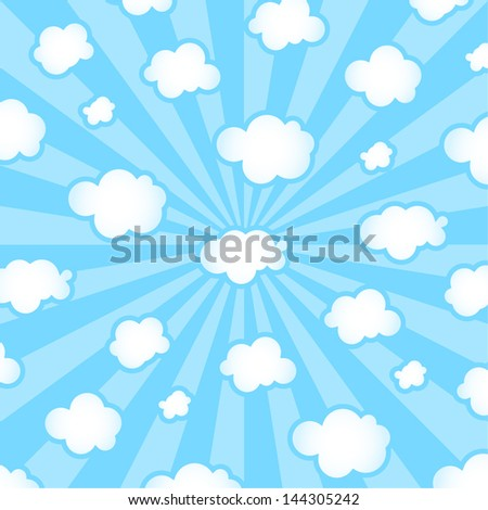 Vector Cartoon Sky Background - Graphic elements to embellish your layout. Vector file editable, scalable and easy color change. You can use the background or isolated elements.
