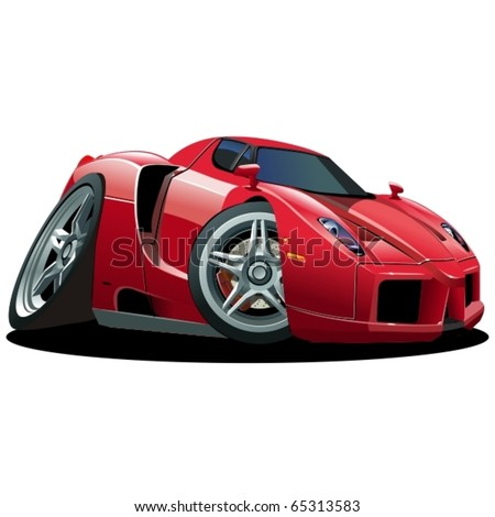 Vector cartoon sportcar - stock vector