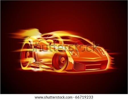 Vector cartoon sportcar - stock vector
