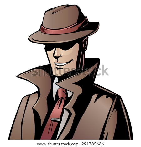 Vector cartoon spy in coat and hat - stock vector