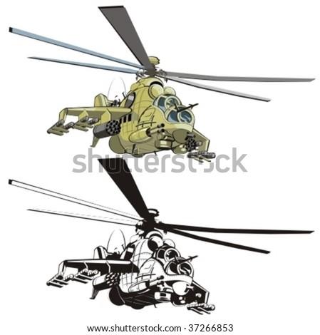 Vector cartoon strike helicopter - stock vector