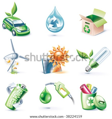 Vector cartoon style icon set. Part 19. Ecology - stock vector