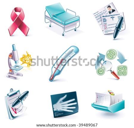 Vector cartoon style icon set. Part 27. Medicine - stock vector