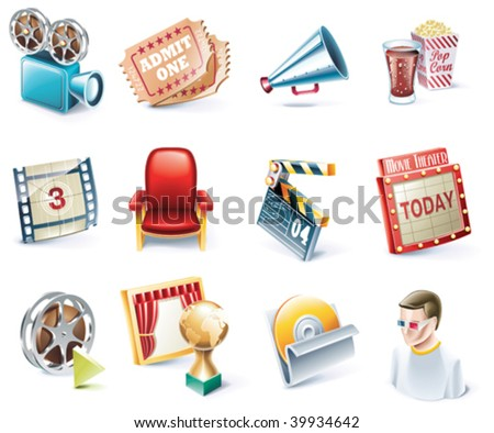 Vector cartoon style icon set. Part 32. Movie - stock vector
