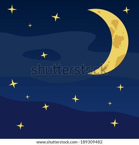 Vector cartoon style illustration of dark blue night sky with moon, stars, fog, and clouds - stock vector