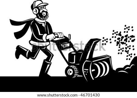 Vector Cartoon style vector illustration of a Man operating a snow blower or snow thrower done in black and white.