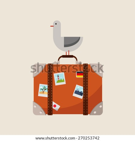 Vector Cartoon Suitcase with a Lot of Stickers - stock vector