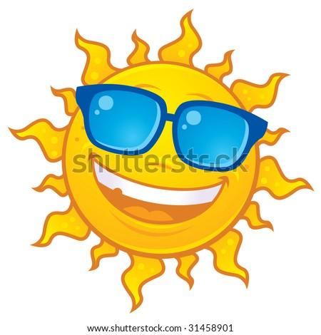 Vector cartoon sun character wearing sunglasses. Great for summer designs. - stock vector