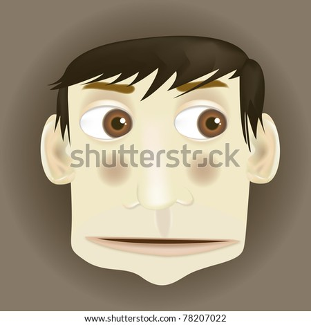 vector cartoon surprised man character caricature for animation - stock vector