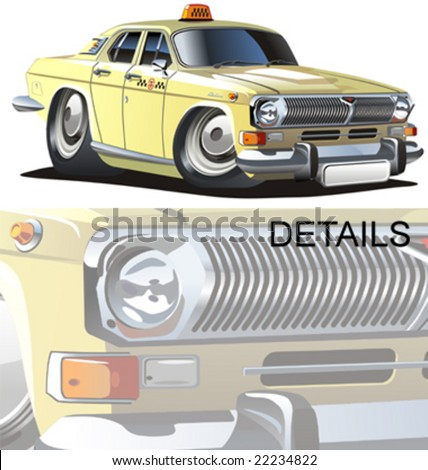 Vector cartoon taxi car. Vector format separeated by groups and layers. More cartoon cars see in my portfolio. - stock vector