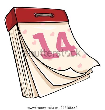 Vector Cartoon Tear-off Calendar. February 14. Valentines Day - stock vector