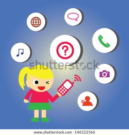 vector cartoon technology for communication - stock vector