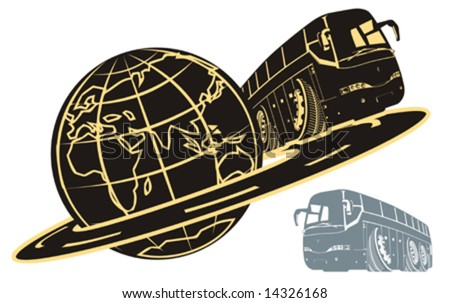 Vector cartoon tourist bus silhouette. Available EPS-8 (separated by layers for easy editing) vector format. - stock vector