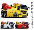 Vector cartoon tow truck. One-click repaint - stock vector