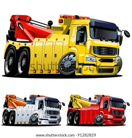 Vector cartoon tow truck. One-click repaint - stock vector