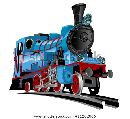 Vector Cartoon Train. Available EPS-10 vector format separated by groups for easy edit - stock vector