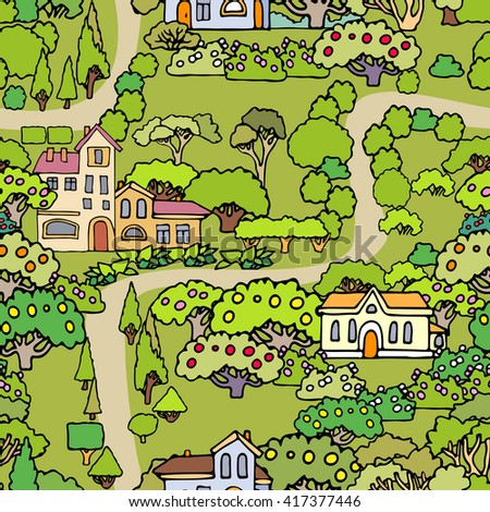 Vector cartoon trees and shrubs seamless pattern background with houses.Can be used for wallpaper,textile design,cover,wrapping paper,banner,card.Hand drawn sketchy trees,bushes and houses - stock vector