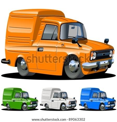 Vector cartoon van one click repaint - stock vector