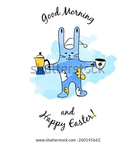 Vector cartoon watercolor Easter Bunny with coffee - stock vector