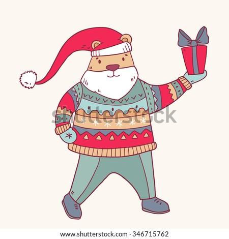 Vector cartoon winter santa bear in hat with gift box - stock vector