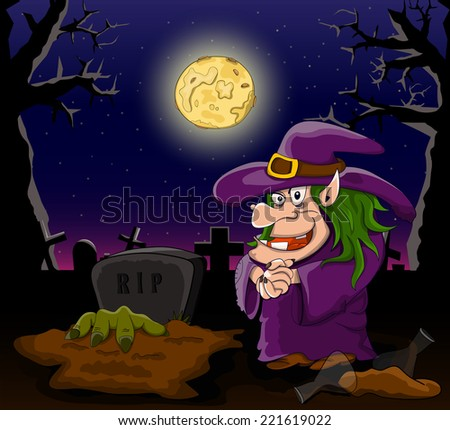 Vector cartoon witch on night cemetery with zombie