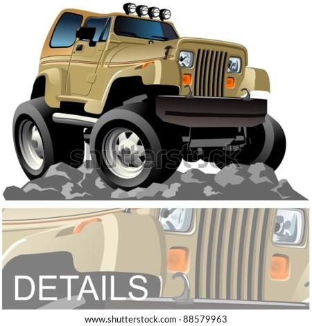 Vector cartoon 4x4 car - stock vector