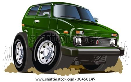 Vector cartoon 4x4 car. More cartoon muscle cars see in my portfolio - stock vector