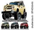 Vector cartoon 4x4 car. One click repaint - stock vector
