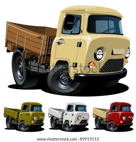 Vector cartoon 4x4 truck. One click repaint - stock vector