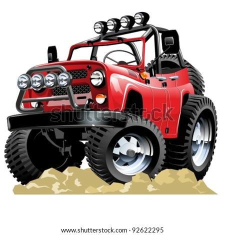Vector cartoon 4x4 vehicle. One-click repaint - stock vector