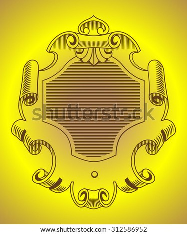 vector cartouche in old style imitating engraving - stock vector