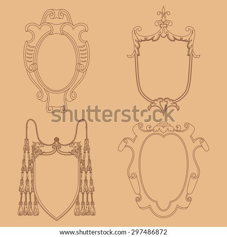 Vector cartouches. Vintage luxury decorative ornate shield, frame and border. Set of coat of arms.   - stock vector