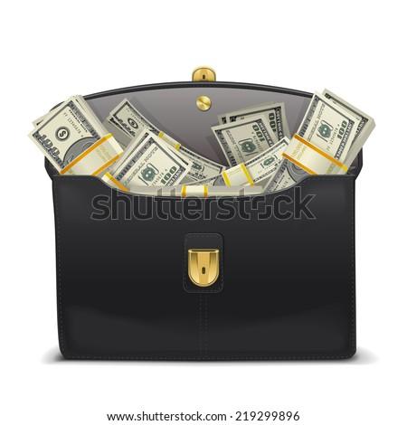 Vector Case with Money - stock vector