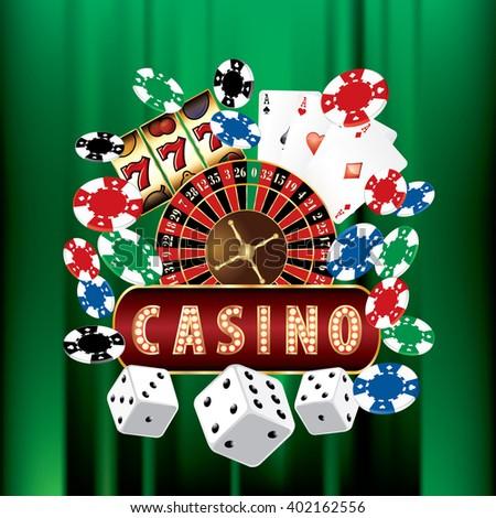 VECTOR CASINO AND GAMBLING ICONS ON GREEN VELVET - stock vector