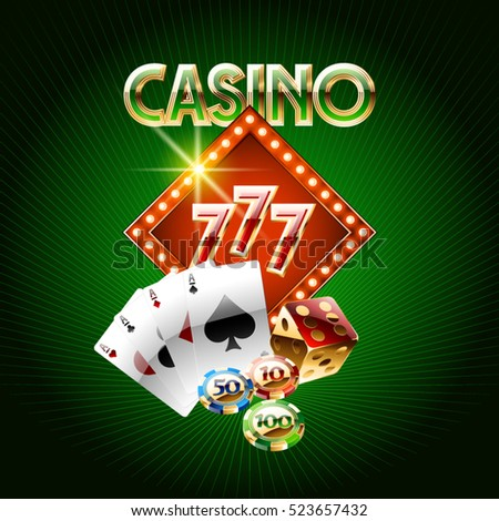 Vector casino card on green background