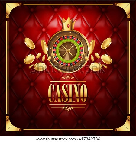 Vector casino gambling game  luxury background with leather red  texture backdrop and roulette wheel with golden coins  flying to viewer. Casino gambling template poster. Casino vector illustration.  - stock vector