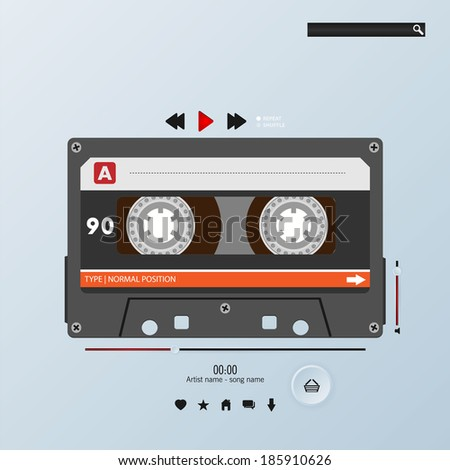 Vector cassette in envelope music player template - stock vector
