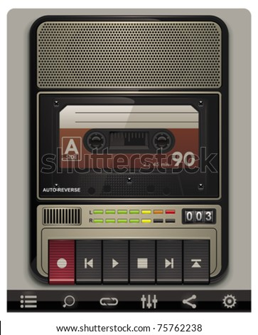 Vector cassette recorder template with icons - stock vector