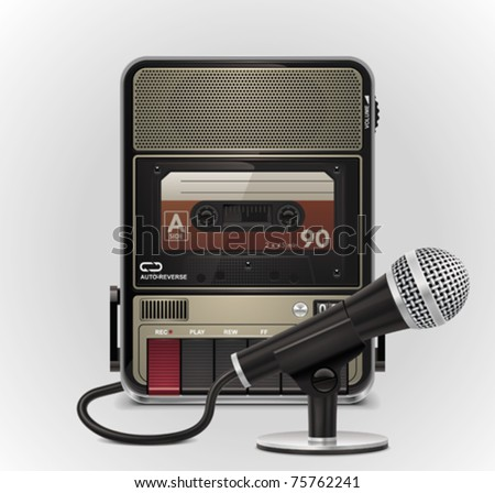 Vector cassette recorder with microphone XXL icon - stock vector