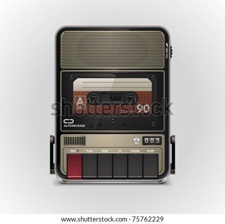 Vector cassette recorder XXL icon - stock vector
