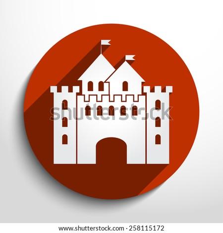 Vector castle flat icon illustration. - stock vector