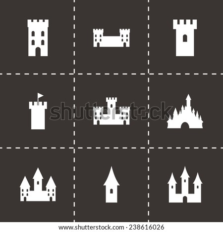 Vector castle icon set on black background - stock vector