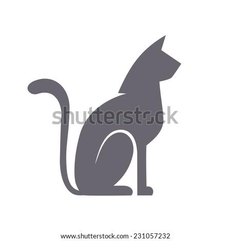 Vector cat icon. Flat sign for logo design template. Original decorative illustration for print, web - stock vector