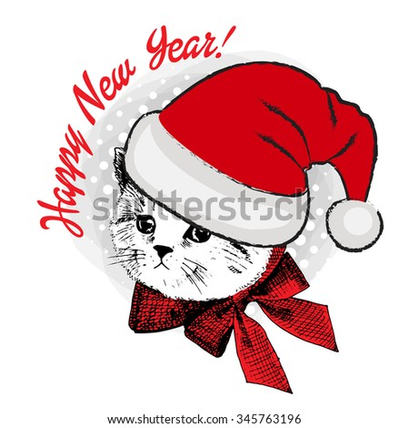 Vector cat in a red hat and bow. Santa. Happy New Year. Cristmas. - stock vector