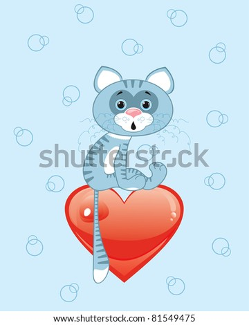 Vector cat on a red heart