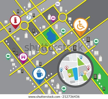 Vector cbstract city map - stock vector