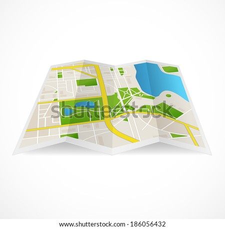 Vector cbstract city map. Streets and river - stock vector