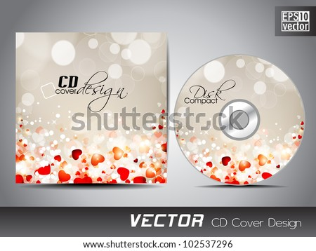 Vector CD cover design with shiny and glossy heart shapes. EPS 10. Vector illustration.