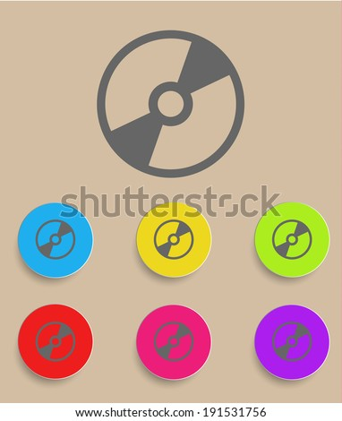 Vector CD or DVD icon with color variations - stock vector